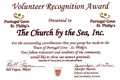 The Volunteer Recognition Award, presented to The CBTS Inc. at the PCSP Volunteer Appreciation Social, April 27 2011